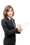 Beautiful young asian woman having a file folder Royalty Free Stock Photos