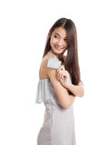 Beautiful young Asian woman hold a blank card Royalty Free Stock Photos