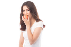 Beautiful young asian woman holding an apple. Royalty Free Stock Photos