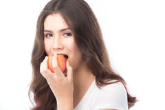 Beautiful young asian woman holding an apple Stock Images