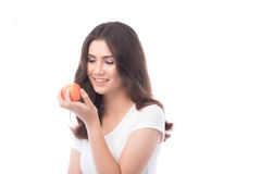 Beautiful young asian woman holding an apple Royalty Free Stock Image