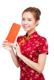 Beautiful young asian woman holding  red bag for rich Stock Photo