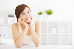 Beautiful Young  asian woman looking Stock Photo