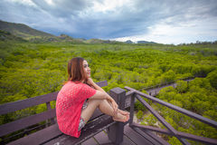 Beautiful young asian woman in mountains Royalty Free Stock Images