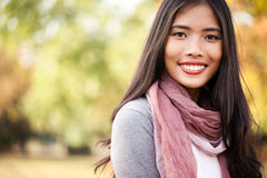 Beautiful Young Asian Woman Outdoors Stock Photography
