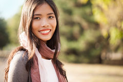 Beautiful Young Asian Woman Outdoors Stock Photo