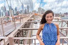 Beautiful young Asian woman portrait on Brooklyn bridge, New York city Stock Images