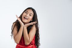 Beautiful woman feeling very happy excited royalty free stock photo