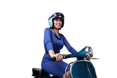 Beautiful young Asian woman riding blue scooter Stock Photography