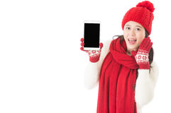 Beautiful young Asian woman shouting digital tablet. Happy Chinese new year. beautiful young Asian woman shouting and holding tablet pc with empty screen Stock Photo