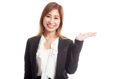Beautiful young Asian woman show palm hand Stock Photography