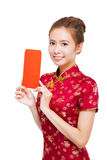 Beautiful young asian woman showing  red bag for lucky Stock Images