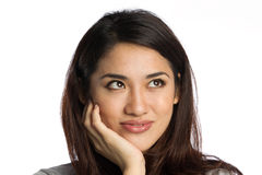 Beautiful young Asian woman thinking Royalty Free Stock Photography
