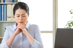 Beautiful young asian woman thinking with headache Royalty Free Stock Photography