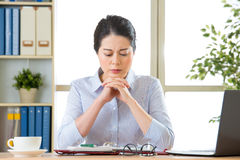 Beautiful young asian woman thinking with headache Royalty Free Stock Image