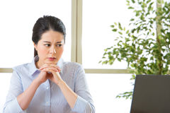 Beautiful young asian woman thinking with headache Stock Photos