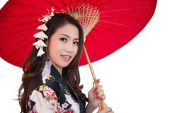 Beautiful young asian woman wearing traditional japanese kimono. Royalty Free Stock Photography