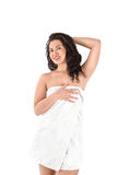 Beautiful young asian woman in white towel Royalty Free Stock Photos