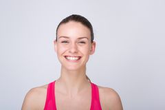Beautiful young athletic woman smiling Stock Photos