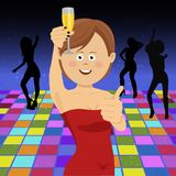 Beautiful young woman with a wine glass celebrating a party shows thumbs up vector illustration