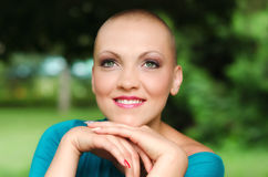 Beautiful Young Bald Woman - Cancer Survivor Royalty Free Stock Image