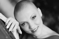 Beautiful young bald woman - cancer survivor Stock Photography