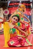 Beautiful young Balinese women in ethnic dancer costume stock image