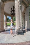 Beautiful young ballerina dancing, standing in Royalty Free Stock Photos