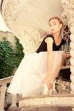 Beautiful young ballerina rehearsing Stock Image
