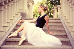Beautiful young ballerina rehearsing Royalty Free Stock Images
