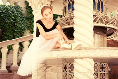 Beautiful young ballerina rehearsing Stock Photography