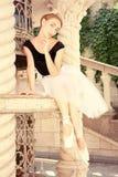 Beautiful young ballerina rehearsing Royalty Free Stock Photography