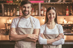 Beautiful young baristas stock images
