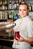 Beautiful young barmaid. Making cocktail Stock Image