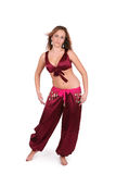 Beautiful young belly dancer in red costume Stock Photo