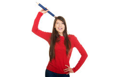 Beautiful young with a big pencil on head. Royalty Free Stock Photos