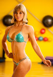 Beautiful young bikini fitness competitor trains posing before t Royalty Free Stock Photo
