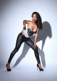 Beautiful young black fashion model in leggings Stock Photography