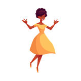 Beautiful young black woman jumping from happiness Stock Image