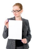 Beautiful young blond business woman is holding blank whiteboard. Sign. Isolated on white background Stock Images