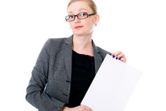 Beautiful young blond business woman is holding blank whiteboard. Sign. Isolated on white background Stock Photos