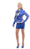 Beautiful young and blond businesswoman with blue suit Stock Image