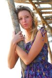 Beautiful young blond girl on beach Royalty Free Stock Photography