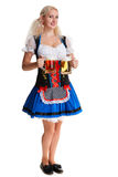 Beautiful young blond girl of oktoberfest beer stein Royalty Free Stock Images