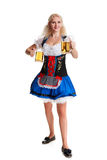 Beautiful young blond girl of oktoberfest beer stein Royalty Free Stock Photography