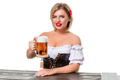 Beautiful young blond girl of oktoberfest beer stein Stock Photography