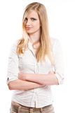 Beautiful young blond pondering. Royalty Free Stock Photography