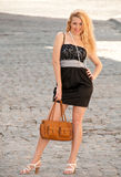 A beautiful young blond sexy woman. A beautiful young blond sexy woman with a bag in his hands Stock Photos
