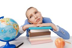 Beautiful young blond student dreaming. stock photo