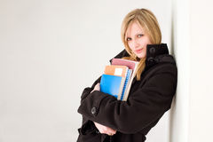 Beautiful young blond student girl. Royalty Free Stock Photo